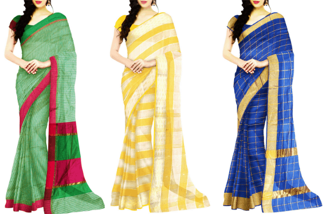 Two color combination saree and Latest color combinations for Sarees