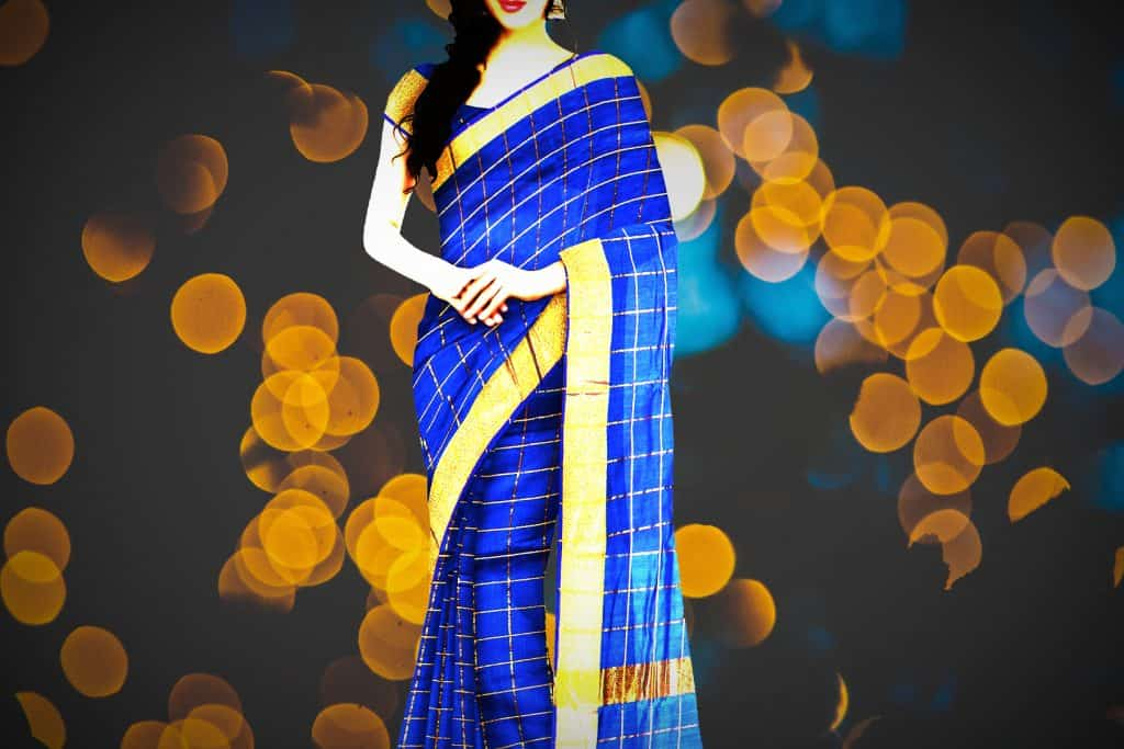 blue saree with golden border