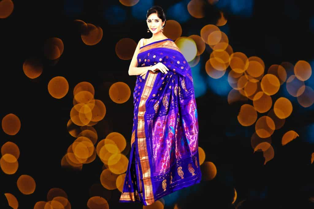 blue saree with golden yellow border