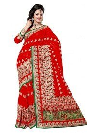 red color saree with green border