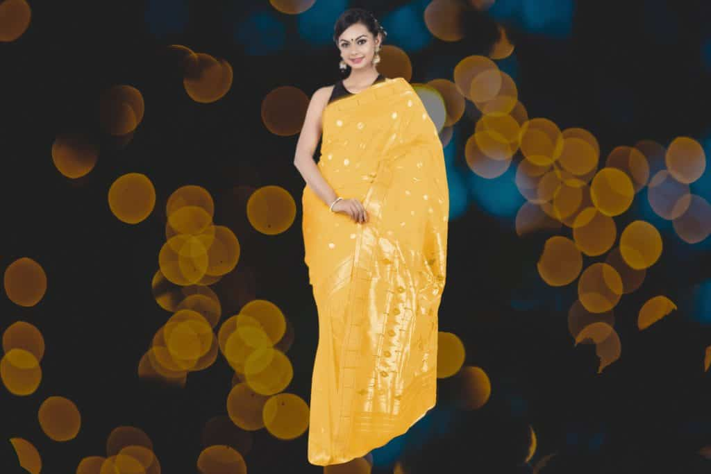 bright gold color saree