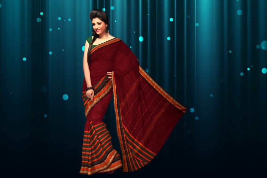 maroon saree with gold border