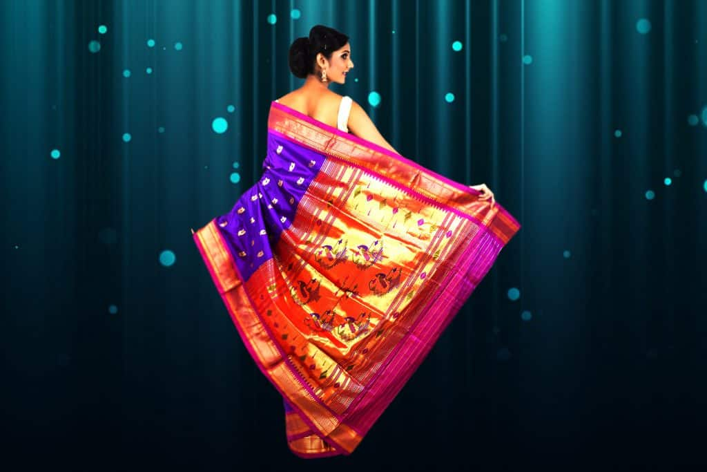 multi color saree with blue, pink and gold