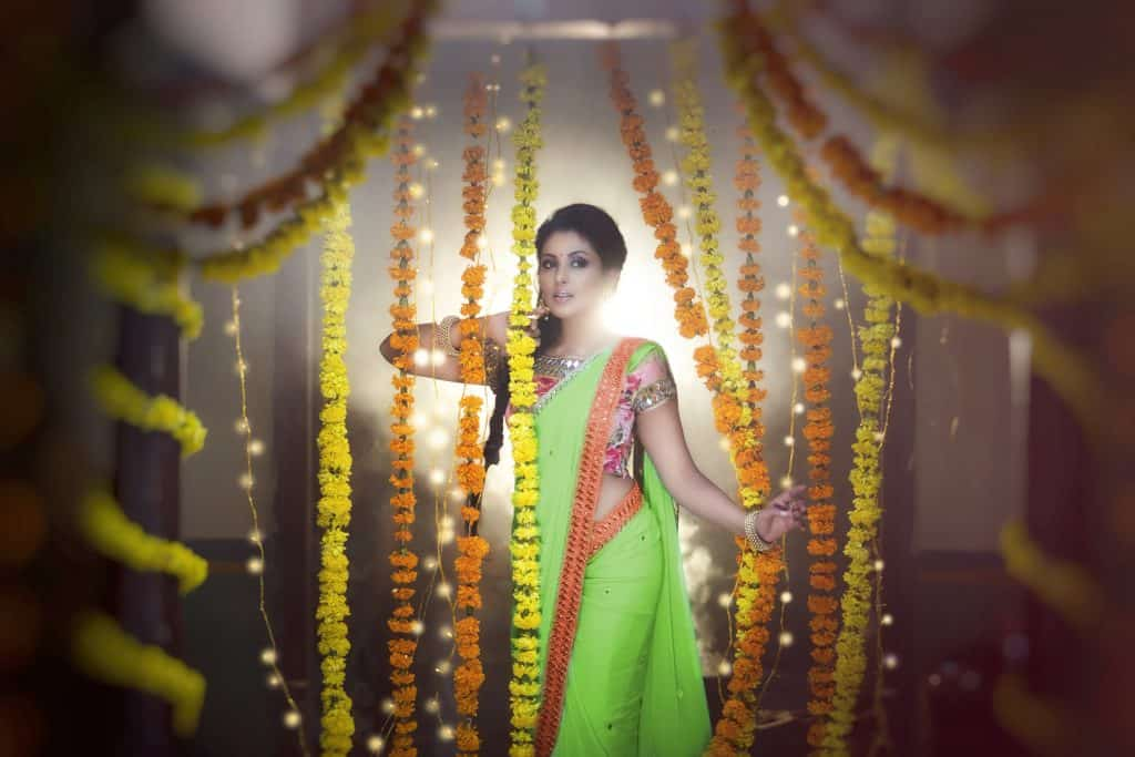 multi color saree with green, pink, white and orange