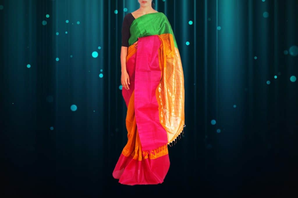 multi color saree with pink, green and orange