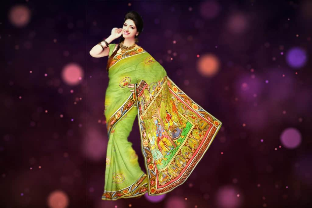 olive geen color saree with orange blend