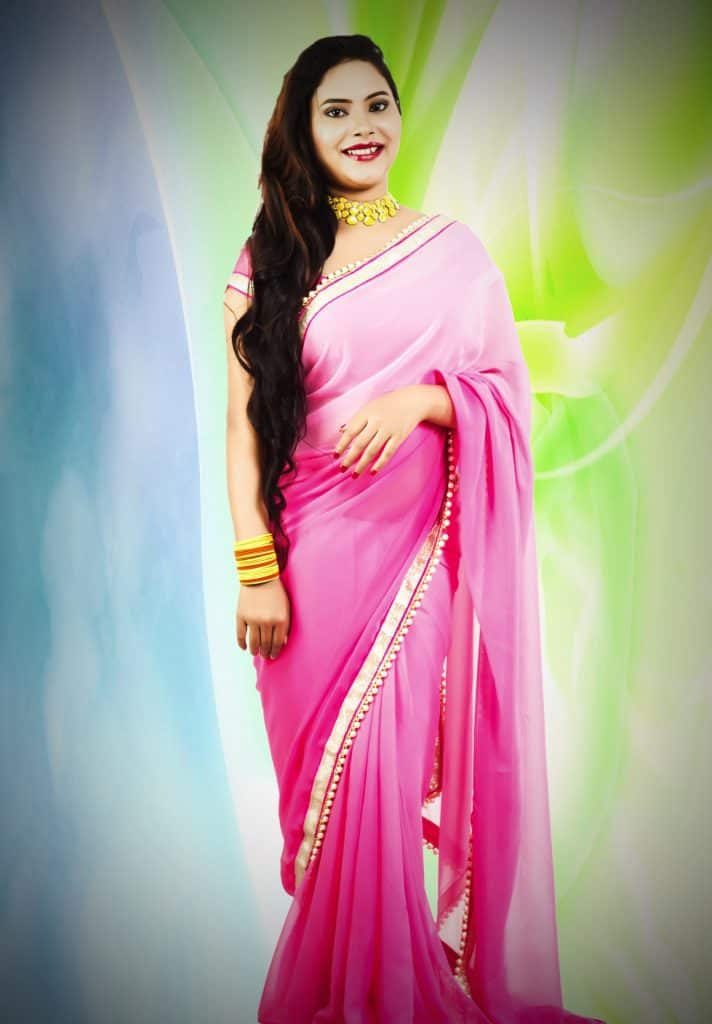 pink and white saree