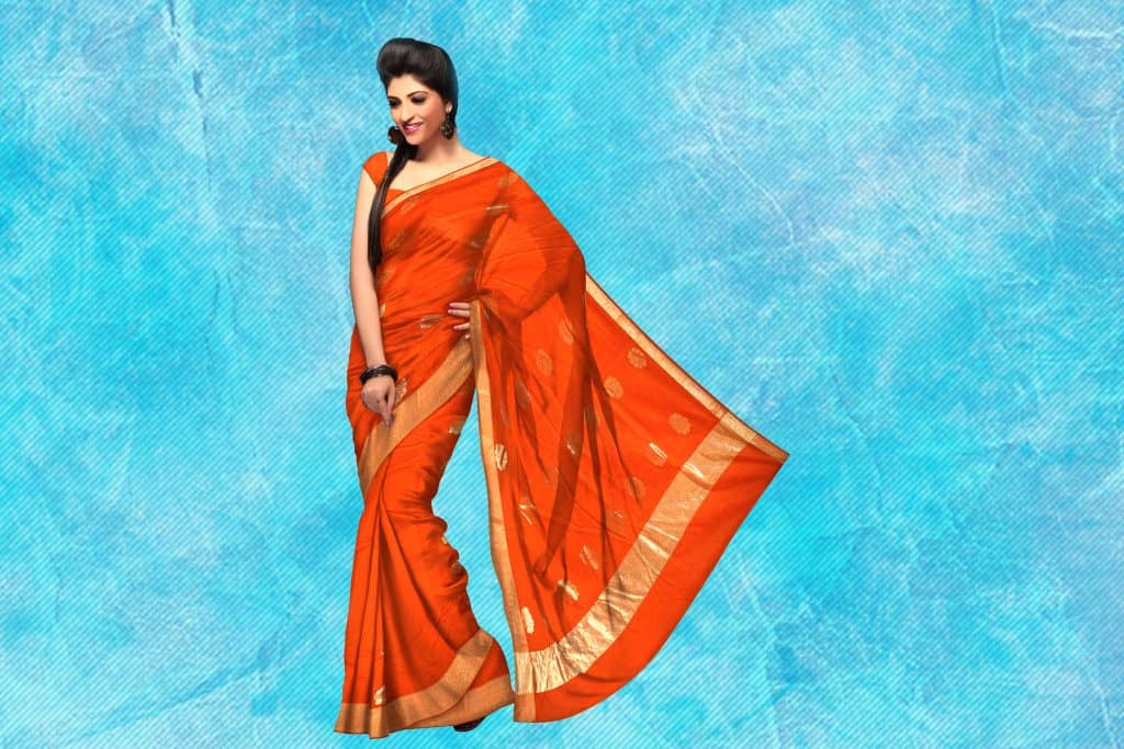 plain orange saree