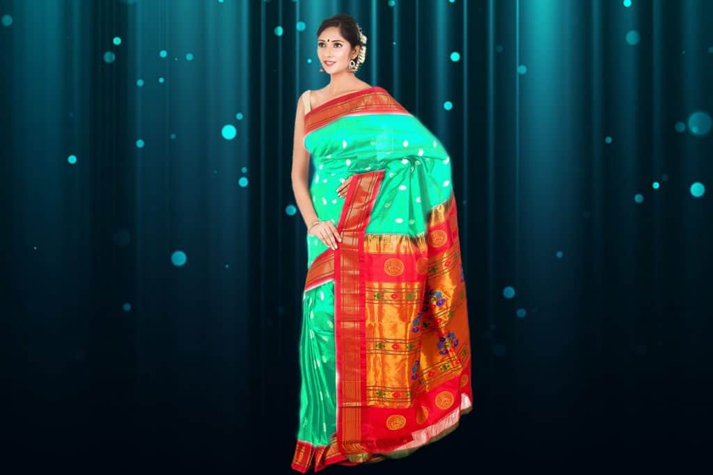 sea green saree with red border