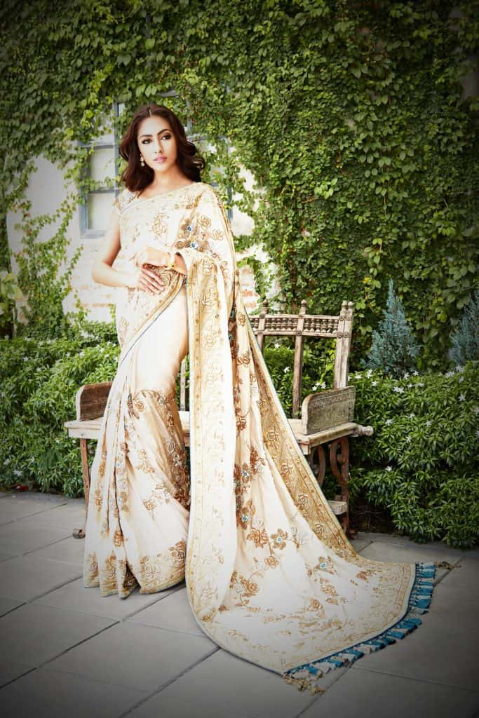 white and golden saree