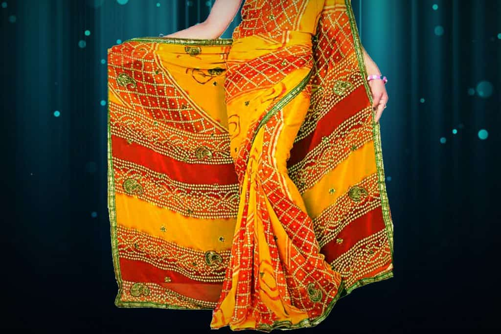 yellow saree with maroon and green touch