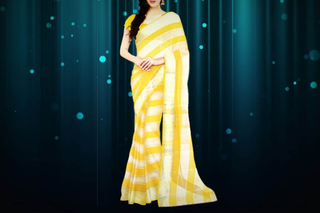 yellow saree with white stripe