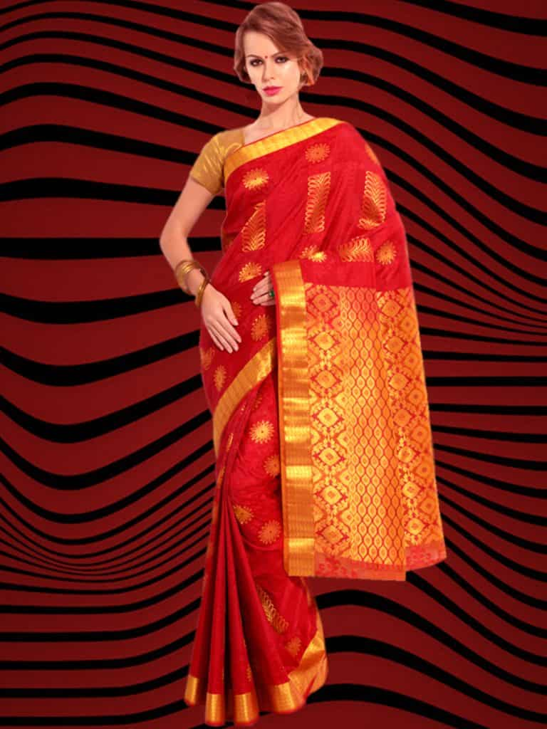 A Simple Red and Gold Saree