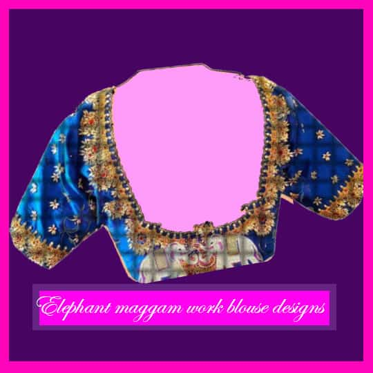 Peacock designs are the ideal ones among the blouse back neck maggam work designs. It comes under the simple designs associated with maggam work. If you incorporate a peacock design in the back of a pink blouse and match it up with golden thread work and green stones, it will look remarkably beautiful with any saree. But, the peacock work is best suitable for simplistic patola sarees. Also, brides favor this particular design as it also looks good on bridal wear blouses. If your wedding is up on the line and you are still searching for that unique design to turn heads, then the peacock design will be the ideal one for you. Additionally, you can also purchase designer blouses with peacock design on the back. The peacock design also looks expensive and classy on ladies. When you wear it with a heavy saree, it will make you resemble like a queen. People will go crazy over your looks after seeing the pleasing design of peacock on the back of your blouse. Pattu blouse maggam work designs with a peacock work also look very beautiful if your saree is dark colored. The meticulous design attracts the attention of people with its magnificent work. Furthermore, if it is a multicolor work, it will look grand and ravishing. Elephant maggam work blouse designs