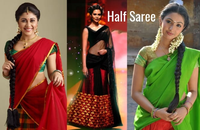 Half Saree How to wear Price Latest Designs Half Saree blouse designs