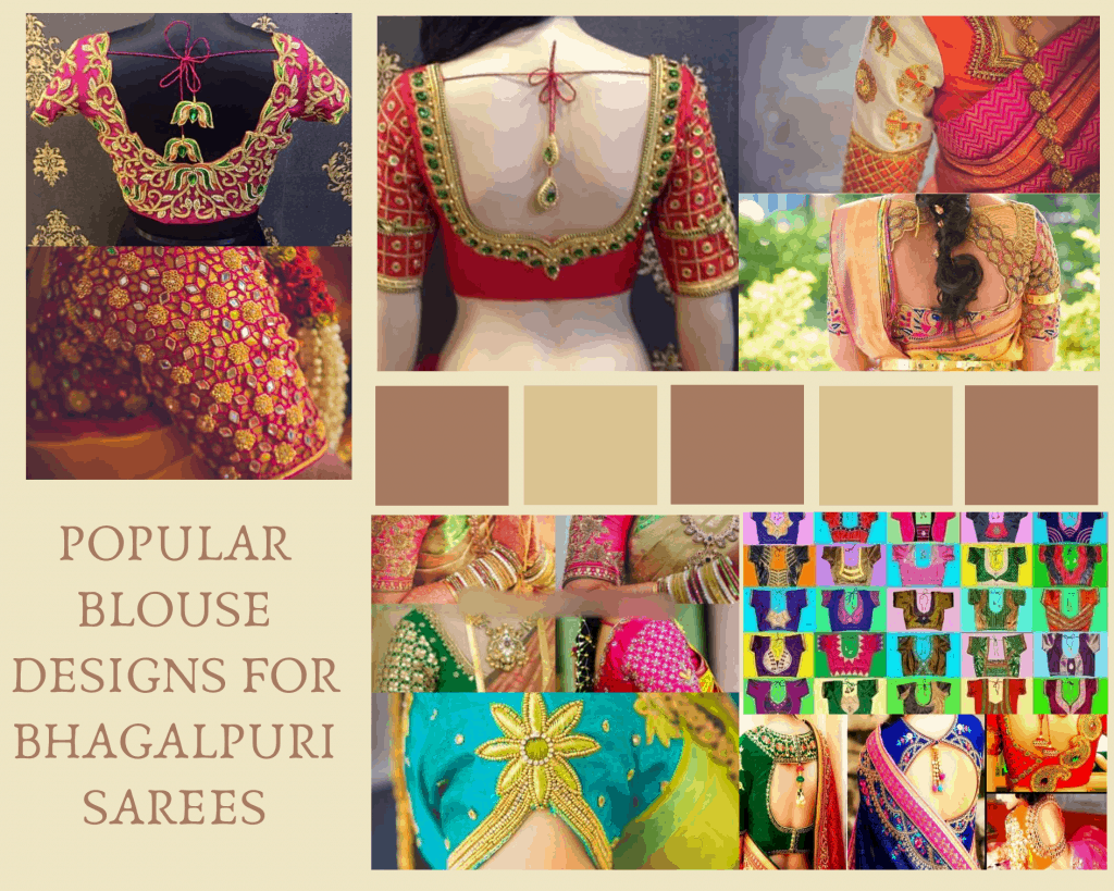 POPULAR BLOUSE DESIGNS FOR BHAGALPURI SAREES